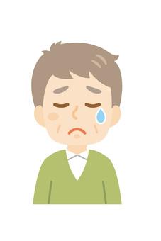 老人哭泣的臉