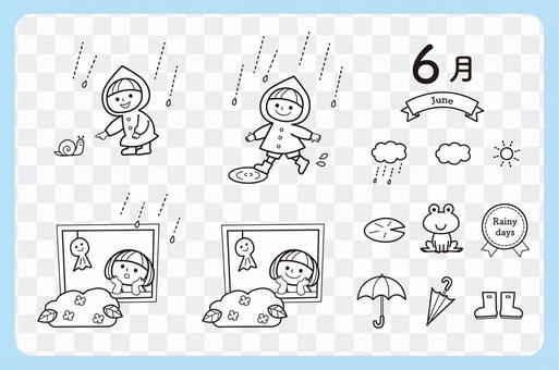 6月插圖削減兒童集合(黑色和白色)