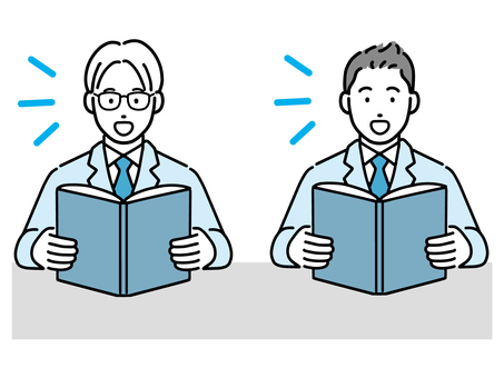 Male students reading textbooks aloud
