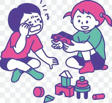給一個哭泣的朋友一個玩具的孩子的插圖