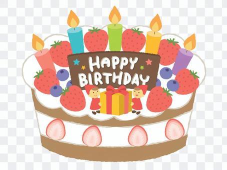 생일 케이크 (흰색 배경)