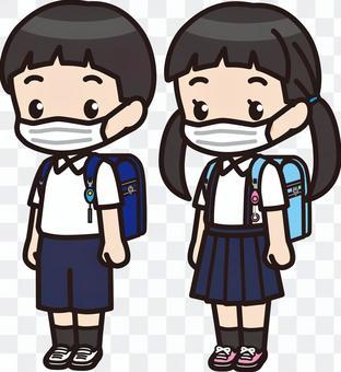 小學男孩和女孩2(面具)