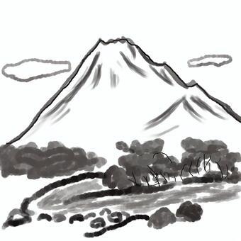 山,河流和雲的風景