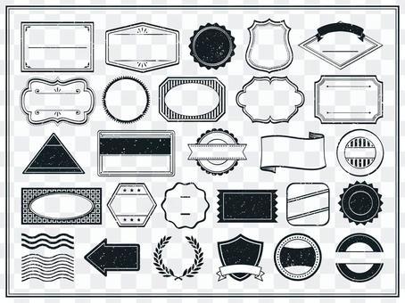 復古郵票風格框架集