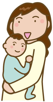 抱著一個嬰兒的母親