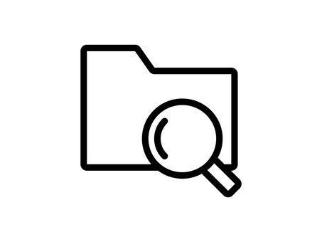Folder and magnifying glass icon