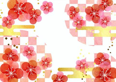 Watercolor plum-like flowers and checkered background horizontal