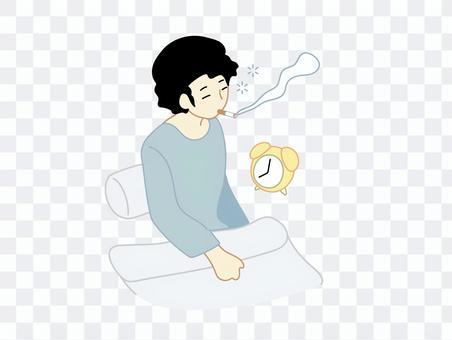 一個男人抽著煙醒來