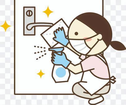 員工採取預防傳染病的措施1_門把手消毒