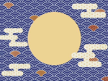 Simple and cute Japanese pattern background wallpaper (blue)