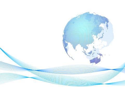 藍色數字網絡點地球