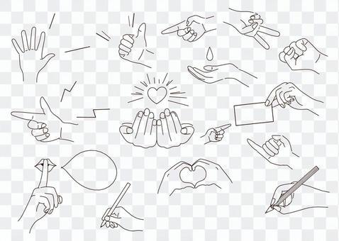 手模式集合手繪插圖素材