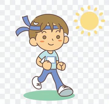Boy running a marathon race