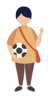 一個男孩和一個足球的問候