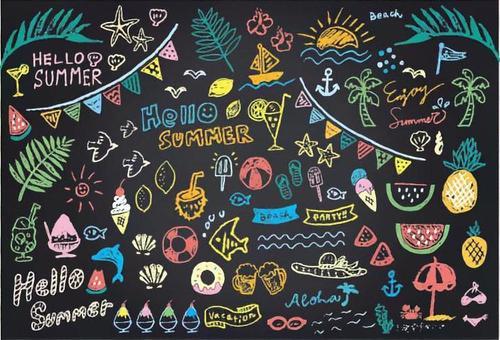 黑板藝術夏天匯集顏色版本。