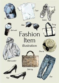 時尚物品的插圖