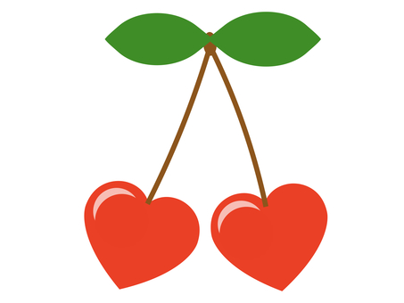 Heart cherry icon: with shiny leaves