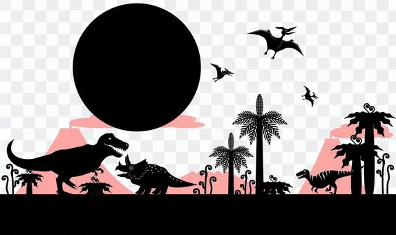 Cretaceous land and sky dinosaur background material