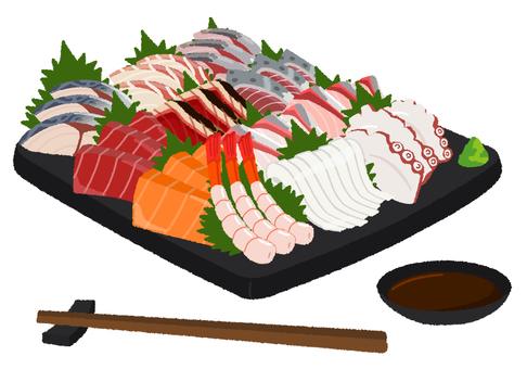 生魚片拼盤的插圖