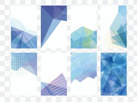流行藝術幾何圖案藍色名片框架
