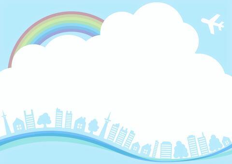 藍天與彩虹,飛機,樹木和建築景觀框架邊框