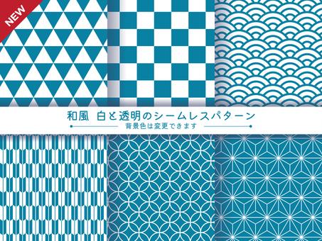 日式風格,白色透明無縫圖案背景