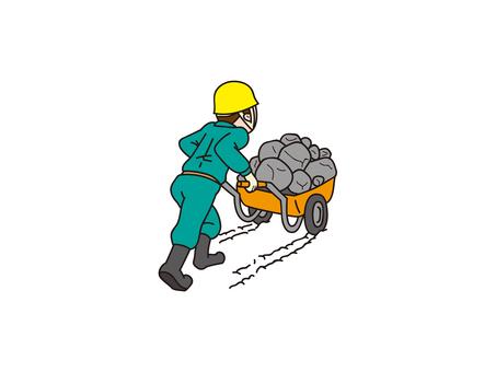 運輸獨輪車(手推車、貓)和男人