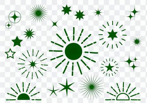 Dark green radial glitter background material