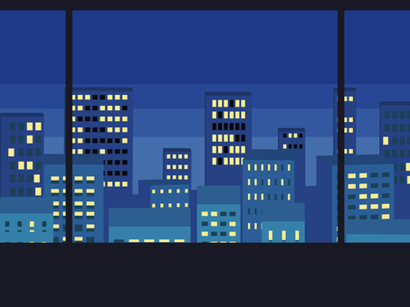 Night view of skyscrapers from the window