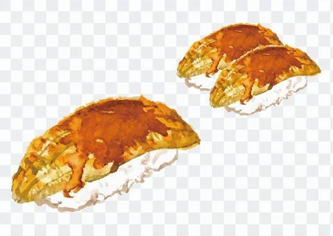《水彩風》穴子のお寿司