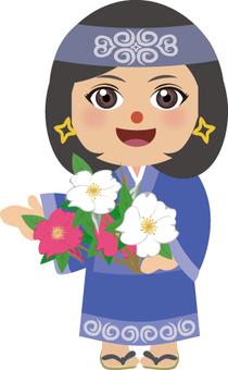 阿伊努女人與玫瑰花朵