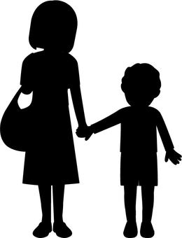 Silhouette with children