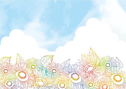 七彩向日葵背景素材