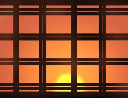 Lattice window (sunset)