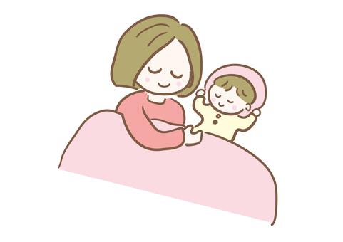 媽媽和她的孩子一起睡覺