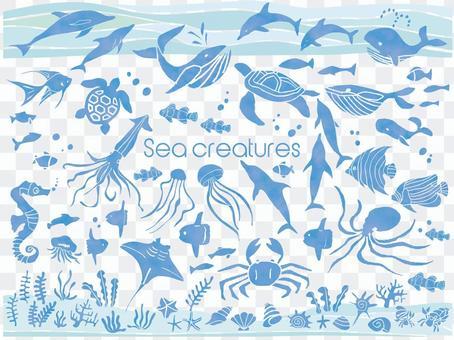 夏季海洋生物剪影海鮮圖標飾品