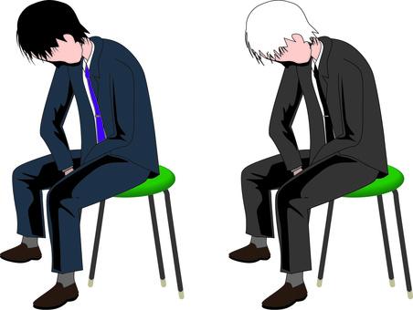 Tired Depressed Sit Men Suit