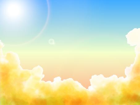夕陽的天空之上,陽光的景色
