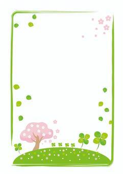 三葉草和櫻花(垂直)