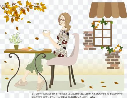 一個女人在一家咖啡館放鬆的插圖
