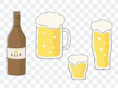 啤酒和啤酒瓶的手寫的插圖