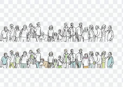 面具人擁擠的插圖