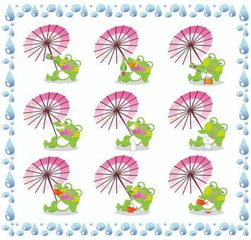 Drawing frog illustration set under the umbrella
