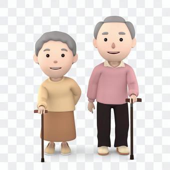 Elderly couple sticking a wand 01