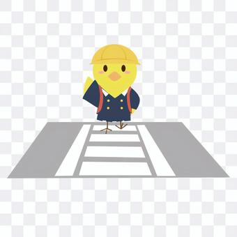一隻小雞,用手抬起頭穿過人行橫道