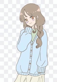 Moe sleeve sister light blue