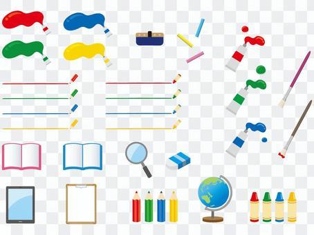 用于学校的文具例证集合材料