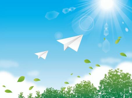 Sky with tree and sun and paper airplane background 01