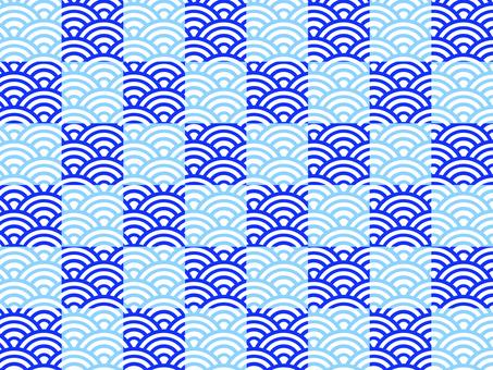 【和柄】市松×青海波:青