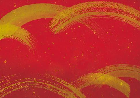Japanese style brush writing background red / gold leaf / New Year / holiday